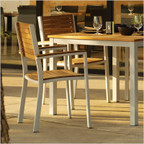 Travira Stainless Steel Armchair with Teak Slats - Set of Four