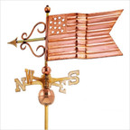 Full Size Weathervane American Flag in Polished
