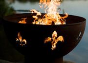 Fire Pit Art Fleur de Lis Wood Burning Fire Pit