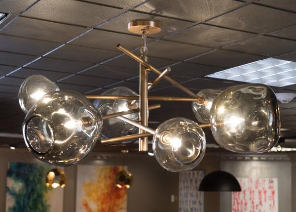 Molten chandelier in brass smoke glass garden cottage molten chandelier in brass with smoke glass mozeypictures Choice Image