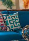 Turquoise Geometric Villa Pillows