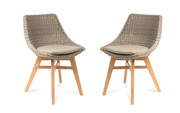 CO9 Verge White Coral Wicker Dining Chair w/ Taupe Cushion - Set of 2