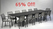 "Table fully extended to 128"" with 10 side chairs and 2 arm chairs"