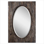 Hitchcock Beveled Mirror in Antiqued Natural Wood Tone