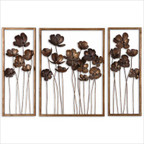 Metal Tulips in Antiqued Gold Leaf (Set of 3)