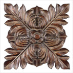 Four Leaves Wall Art Plaque in Chestnut Brown