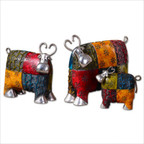 Colorful Cows Accessories Statues in Red - Set of 3