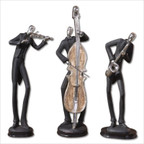 Musicians Accessories Statues in Silver Plated - Set of 3
