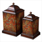 Colorful Flowers Canister in Brown - Set of 2