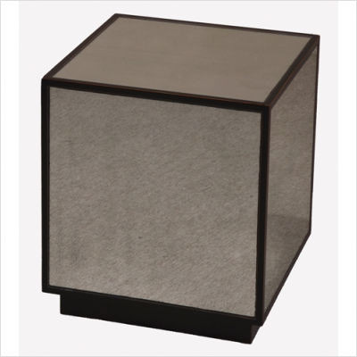 Matty Mirrored Cube End Table In Aged Black Cube With Red Undertones