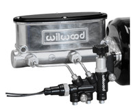 Wilwood Aluminum Tandem Master Cylinder Kit w/ Bracket & Valve - Black / Media Burnished Finish