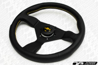 Personal Neo Grinta Steering Wheel 330mm Black Leather with Yellow Stitching