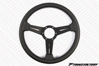 Nardi Classic Black Leather Black Spokes w/ Grey Stitch 330mm