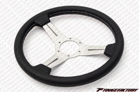 Nardi Classic Black Leather White Spokes Grey Stitch 330mm