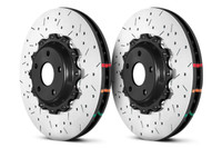 DBA Front Drilled & Slotted 5000 Series 2 2 Piece Rotor Assembled w/ Black Hat - 09+ Nissan GTR R-35