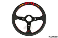 Vertex 10 Star 330mm Steering Wheel Black Leather w/ Red Stitch