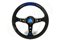 Vertex 330mm Steering Wheel Black Leather Blue Stitching