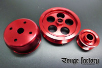 Lightweight 3pc Aluminum Pulley Kit Mazda RX7 FD3S 13B - Red