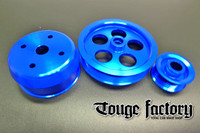 Lightweight 3pc Aluminum Pulley Kit Mazda RX7 FD3S 13B - Blue