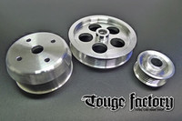 Lightweight 3pc Aluminum Pulley Kit Mazda RX7 FD3S 13B - Silver Polished
