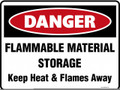 DANGER - FLAMMABLE STORAGE KEEP HEAT AND FLAMES AWAY