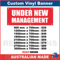 UNDER NEW MANAGEMENT - RED BANNER / WHITE TEXT