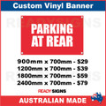 PARKING AT REAR - CUSTOM VINYL BANNER SIGN