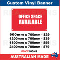OFFICE SPACE AVAILABLE - CUSTOM VINYL BANNER SIGN