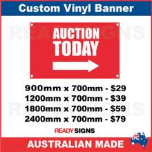 AUCTION TODAY (ARROW) - CUSTOM VINYL BANNER SIGN