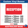 RECEPTION - CUSTOM VINYL BANNER SIGN