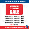 STOREWIDE CLEARANCE SALE - CUSTOM VINYL BANNER SIGN