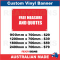 FREE MEASURE AND QUOTES - CUSTOM VINYL BANNER SIGN