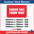 GARAGE SALE TODAY ONLY - CUSTOM VINYL BANNER SIGN