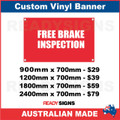 FREE BRAKE INSPECTION  - CUSTOM VINYL BANNER SIGN