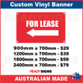 ( ARROW )  FOR LEASE  - CUSTOM VINYL BANNER SIGN
