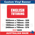 ENGLISH TUTORING - CUSTOM VINYL BANNER SIGN