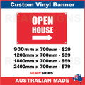 OPEN HOUSE ( ARROW )  - CUSTOM VINYL BANNER SIGN