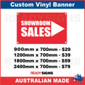 SHOWROOM SALES ( ARROW ) - CUSTOM VINYL BANNER SIGN