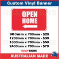 ( ARROW )  OPEN HOME - CUSTOM VINYL BANNER SIGN