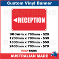 ( ARROW )  RECEPTION  - CUSTOM VINYL BANNER SIGN