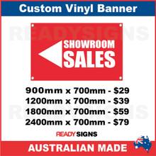( ARROW )  SHOWROOM SALES  - CUSTOM VINYL BANNER SIGN