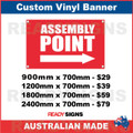 ASSEMBLY POINT ( ARROW )  - CUSTOM VINYL BANNER SIGN