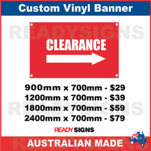 CLEARANCE ( ARROW ) - CUSTOM VINYL BANNER SIGN