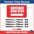 DAYCARE NOW OPEN ( ARROW )  - CUSTOM VINYL BANNER SIGN