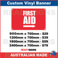 FIRST AID ( ARROW ) - CUSTOM VINYL BANNER SIGN