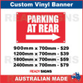 PARKING AT REAR ( ARROW ) - CUSTOM VINYL BANNER SIGN