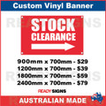 STOCK CLEARANCE ( ARROW ) - CUSTOM VINYL BANNER SIGN