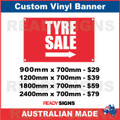 TYRE SALE ( ARROW )  - CUSTOM VINYL BANNER SIGN