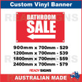 ( ARROW )  BATHROOM SALE - CUSTOM VINYL BANNER SIGN
