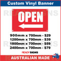 ( ARROW )  OPEN - CUSTOM VINYL BANNER SIGN